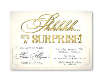 Surprise 90th birthday invitations, Women's 90th Birthday Party, Printable Digital File or Printed, 80th 90th 100th Birthday or Any Age