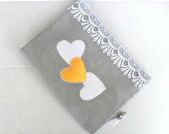 Fabric book cover with 3D yellow heart