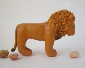 Polymer Clay Lion, Lion Figurine, Clay Animal Sculpture, Jungle Decor, African Art, Miniature Animal, Animal Cake Topper, Desk Accessory