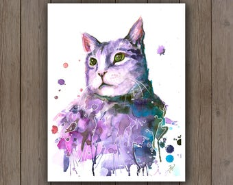 Watercolour Art Print - Purple Cat Portrait / Pet Portrait Surreal Splatter Handpainted Watercolor Painting / Cat Lover Gift Ideas