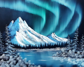 """Original Oil Painting in Bob Ross Style """"Northern Lights"""" on 18x24 canvas"""