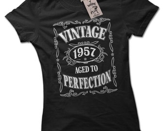 Vintage 1957 60th Birthday Gift T-Shirt S to 3XL 60th Birthday Gift For Wife 60th Birthday Ideas 1957 Birthday Gift Aged to Perfection Tee