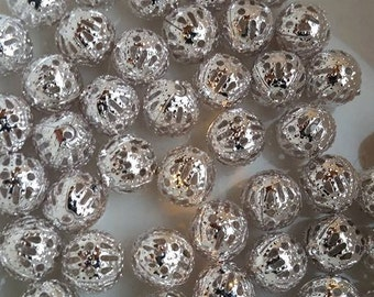 Silver Spacer Beads, 6mm Silver Beads, 6mm Metal Beads, 6mm Silver Plated, Silver Ball Beads, 6mm Silver Ball Beads, Filigree Beads,