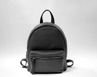 Black leather backpack, women leather backpack, leather backpack purse, leather bag, leather rucksack