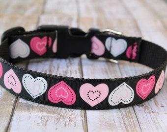 Valentine's Day Dog Collar - Hearts Dog Collar - Love Dog Collar - Personalized Dog Collar - Valentine's Day Dog Leash - Hearts Dog Harness