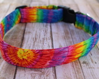 Tie Dye Dog Collar - Tie Dye Dog Leash - Tie Dye Dog Harness - 70s Dog Collar - Retro Dog Collar - Personalized Dog Collar - Retro Dog Leash