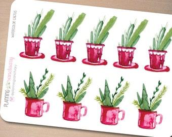 Decorative Watercolor Cactus Planner Stickers