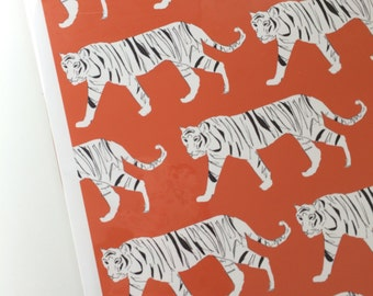 Tiger Print Orange wall art- print for living room/bedroom/kids room
