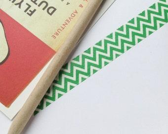 Green & White zig zag Washi Tape 15mm x 5m chevron design