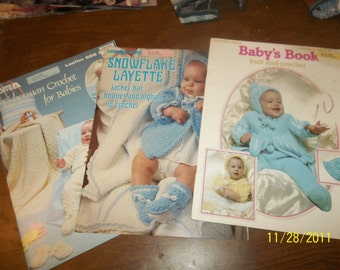 leisure arts crochet and knit leaflets for baby lot of 3