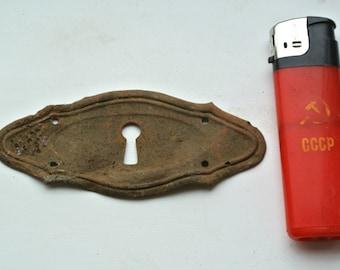 Vintage Old Antique Escutcheon Antique Keyhole Cover Key Hole Plate Door Hardwear Cabinet Drawer Dresser Escutcheon Furniture Hardwear