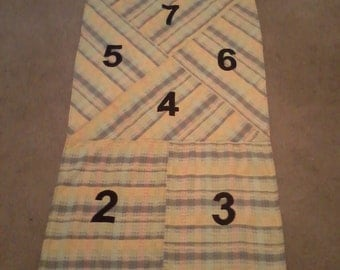 Hopscotch-indoor / yellow and grey plaid / children's game / indoor fun / Great fun for kids!
