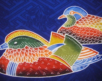 95: Japanese vintage kimono fabric silk blue navy bird mandarin duck 2pc