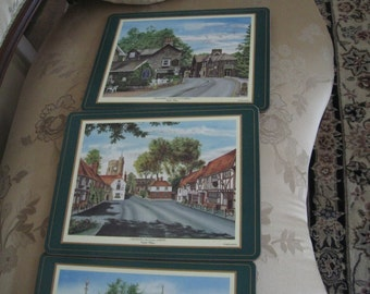 Set of four pimpernel English  country cottages placemats