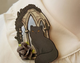 Cathedral Cat Lavender Brooch