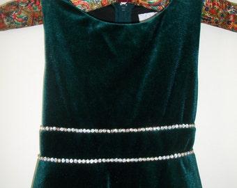 Vintage Rare Editions Girls Green Velvet Dress With Rhinestone Trim At Waist. Holiday Dress Size 6.