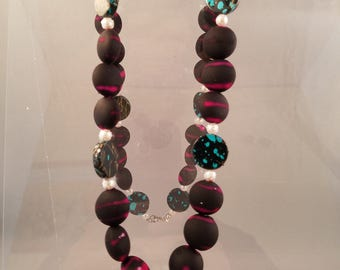 Pink and Turquoise Pendant Necklace and Earrings