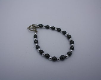 Beautiful Black and Silver Beaded Toggle Clasp Bracelet