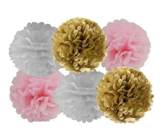 Set of 6 tissue paper pom poms pink gold white baby shower decorations modern pompom pom pom