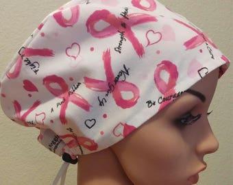 Women's Surgical Cap, Scrub Hat, Chemo Cap, Breast Cancer Awareness