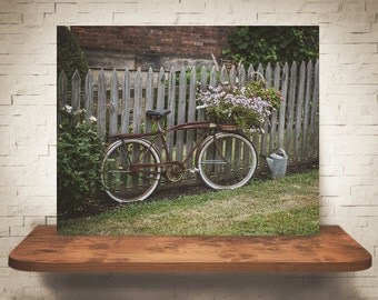 Bicycle Flowers Photograph - Bike Pictures - Fine Art Print - Wall Decor - Floral Wall Art - Fence Photo - Home Decoration - Wall Hanging