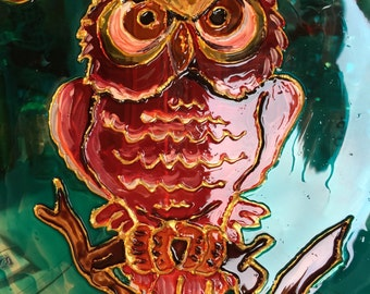 OWL hand painted on glass