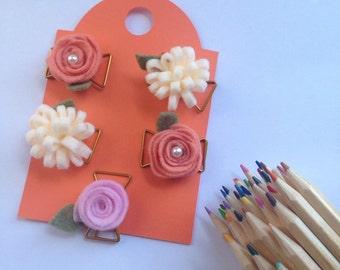 Felt flower paperclips • Felt flower planner clips• Planner clips