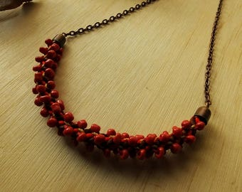 Red and copper kumihimo necklace / Seed bead and chain necklace / statement necklace / kumihimo jewelry / Gift for her
