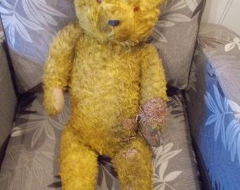 Antique Hermann Teddy Bear , German,  Glass Eyes, Yellow mohair, Growler (not working), NEED RESTORATION