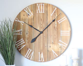 Handmade wooden wall clock. Large wall clock. Rustic wall clock. Oversized wall clock. Natural wood clock. Wall clock