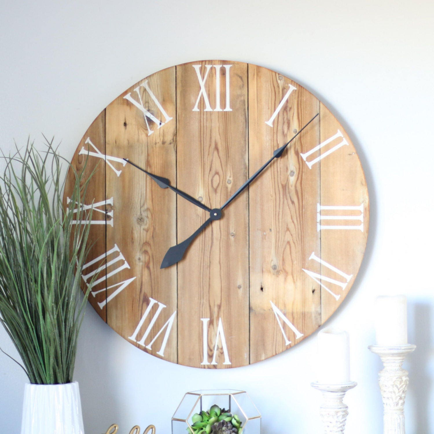 Handmade wooden wall clock large wall clock rustic wall details this large wall clock amipublicfo Image collections
