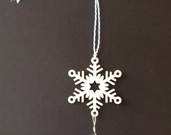 Laser Cut Wood Snowflake Ornament with Chandelier Crystal