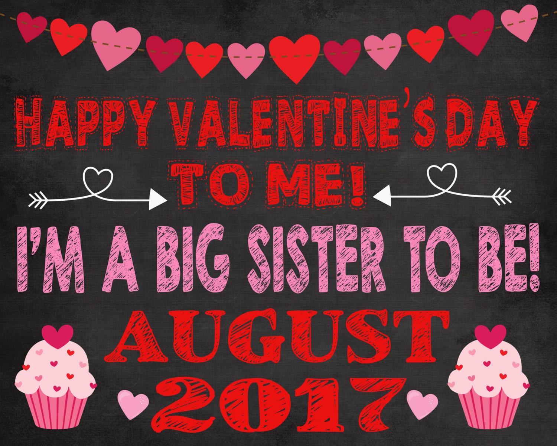 Valentine\'s pregnancy announcement, big sister announcement ...