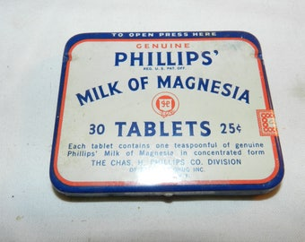 Phillip's Milk of Magnesia tablets tin - Vintage Household Collectible Advertising Tin- Antacid + mild Laxative - Medicine Tin         43-24