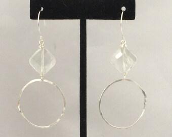 Aquamarine silver hoop earrings