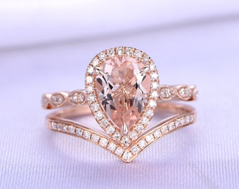 Morganite Ring Set Pink Morganite Engagement Ring 8x12mm Pear Shape Gemstone V Shape Diamond Wedding Band 14k Rose Gold Marquse Ring Set