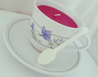 Vintage plumberry scented teacup candle