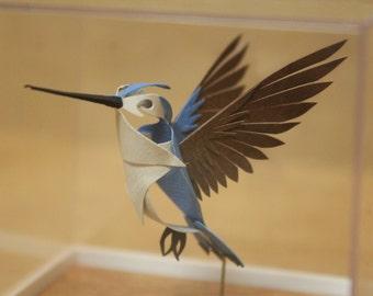 The Encased Bee Hummingbird - Male. Paper-cut Sculpture. 2016.