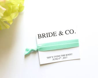 Bride & Co. Bridal Shower Personalized Hair Tie Favor | Bridal Shower Favor | Tiffany Theme Shower | Breakfast at Tiffany's | Bride and Co