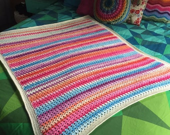 Gorgeous handmade soft rainbow shades crochet baby throw blanket