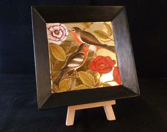 Garden Birds. Gift for mother, gift for sister. Original paintingof a robin and chaffinch in egg tempera on gold