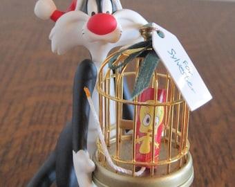 Christmas Ornament, 90's Hallmark Ornament, Sylvester Xmas Ornament, Sylvester & Tweety Xmas