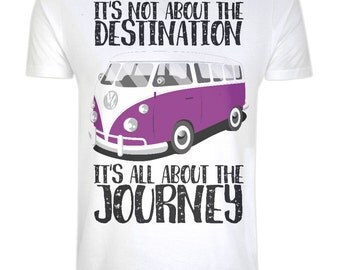 Organic 100% Cotton Camper Van T-shirt Eco Friendly, Ethical, Sustainable - It's all about the Journey - Inspirational Quote, Eco Tee