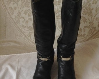 Winter High Boots Made Of Natural Leather. Natural Leather Fur Winter Boots. Size 38 (American Size 7.5)