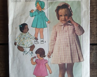 Simplicity #7945 Toddlers Dress, Coat and Hat Pattern Size 1