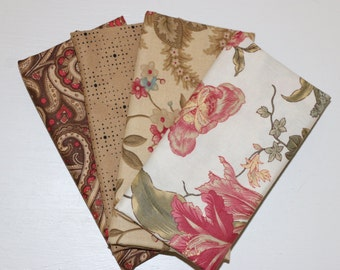 SALE - 4 Fat Quarters (tan, brown, off white) - Cotton fabric