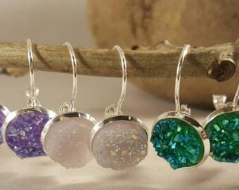 faux druzy earrings, lever arch, silver plated, nickel free,silver, sparkly glitter, faux druzy,druzy earrings, druzy dangly, jewellery
