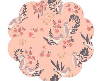 Organic cotton fabric. Feathered fellow blush print fabric. Floral/bird print fabric. Apparel/quilting cotton fabric. DIY sewing/craft