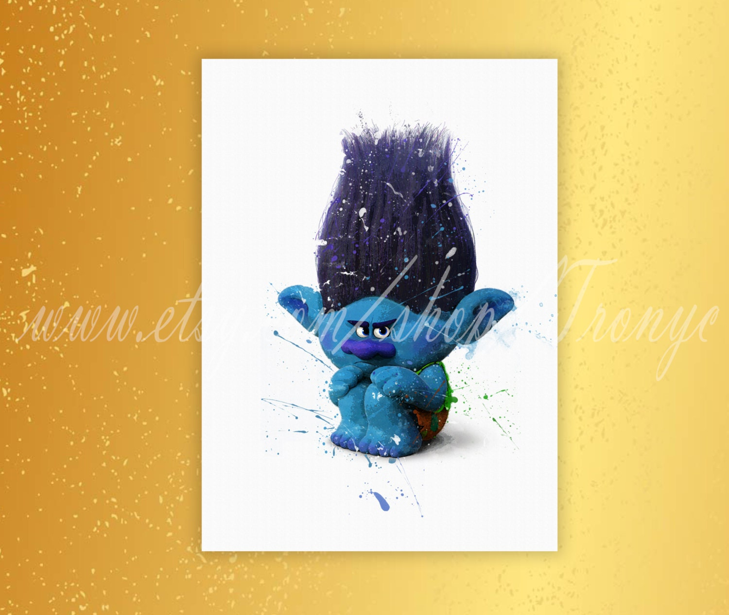 Trolls branch poster watercolor print home