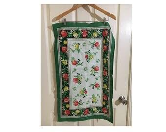 vintage retro kitsch tea towel floral design cotton